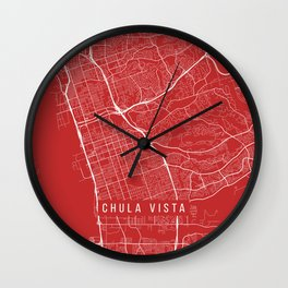 Chula Vista Map, USA - Red Wall Clock