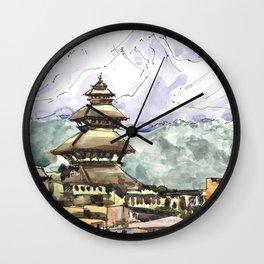 Nepal Temple Bhaktapur Kathmandu Wall Clock
