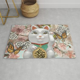 Japanese Traditional Lucky Cat Rug
