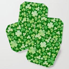 Lucky Green Watercolour Shamrock Pattern Coaster