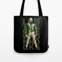 walter white Tote Bags featuring Walter White by Denis O'Sullivan