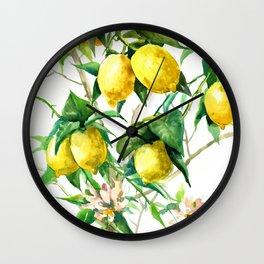 Lemon Tree. lemons kitchen art Wall Clock