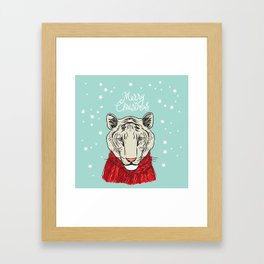 Merry Christmas New Year's card design Tiger head in a red knitted sweater and a scarf. Sketch Framed Art Print