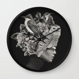 Lady with Birds(portrait) Wall Clock