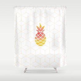Pineapple Geometric Art Shower Curtain