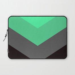 Mint Green Gray Chevron Stripes Laptop Sleeve
