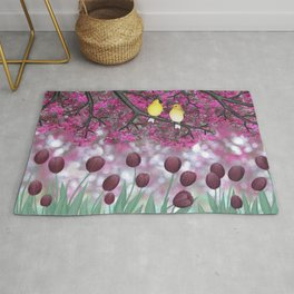 goldfinches, tulips, & flowering crabapple Rug