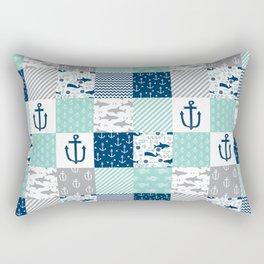 Nautical anchors sharks whales quilt cheater quilt nursery pattern art Rectangular Pillow