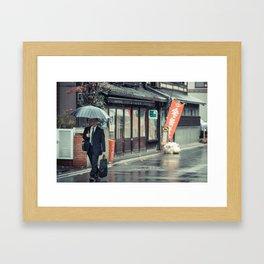A Stroll in the Rain Framed Art Print