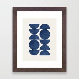 Blue navy retro scandinavian Mid century modern Framed Art Print