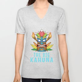 Tiki Gift Design Hawaiian Island The Big Kahuna Print Unisex V-Neck