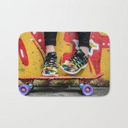skateboard yellow red Bath Mat