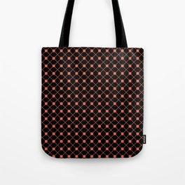 Pantone Living Coral Thin Line Stripe Grid (Pinstripe) and Polka Dots on Black Tote Bag