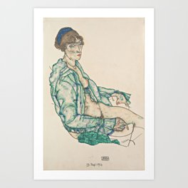Egon Schiele - Sitting Semi-Nude with Blue Hairband (1914) Art Print