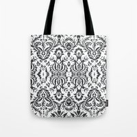 damask Tote Bags featuring Damask by Pink Fox Designs