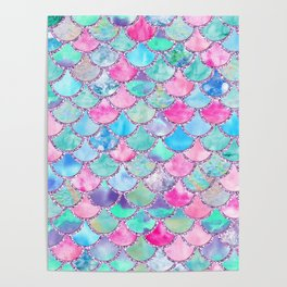 Colorful Pink and Blue Watercolor Trendy Glitter Mermaid Scales Poster