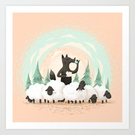 Wolf in the Flock Art Print