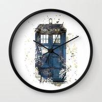 tardis Wall Clocks featuring Tardis by Zhavorsa