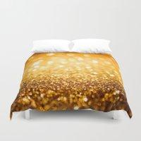gold glitter Duvet Covers featuring Gold Glitter Texture by Robin Curtiss