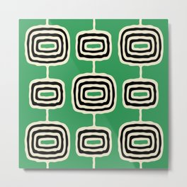 Mid Century Modern Atomic Rings Pattern 237 Black Beige and Green Metal Print