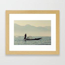 Fisherman on Inle Lake Framed Art Print