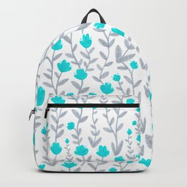 Blue and Grey Floral Pattern Backpack