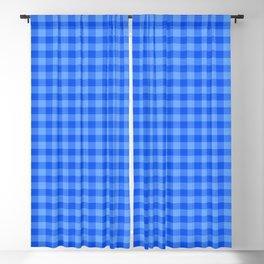 Bright Blue Plaid Pattern Blackout Curtain