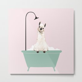 Llama Enjoying Bubble Bath Metal Print