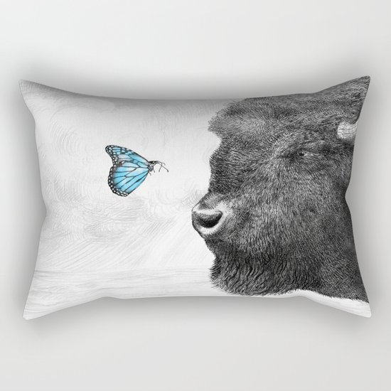 Bison and Butterfly (square format) Rectangular Pillow