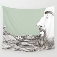 beard Wall Tapestries featuring Beard  by Centprent