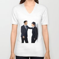 sterek V-neck T-shirts featuring Sterek White Collar AU by Finduilas