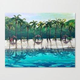 Honeymoon Beach Palm Canvas Print