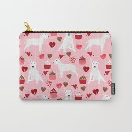 Bull Terrier white valentines day cupcakes hearts dog breed pet friendly dog gifts bull terriers Carry-All Pouch