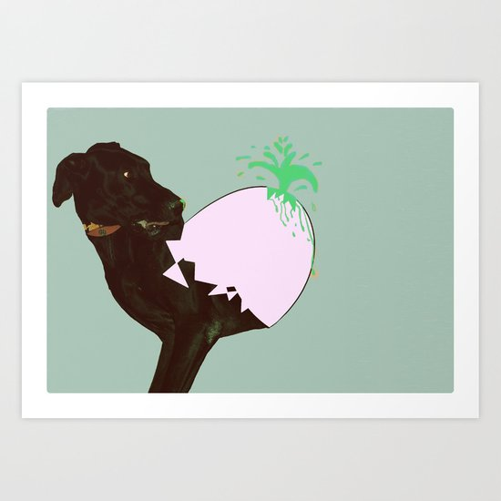 To spring a leak, is as dog is to egg. Art Print