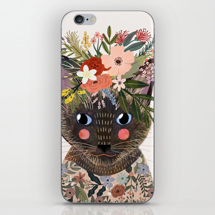Siamese Cat with Flowers iPhone Skin