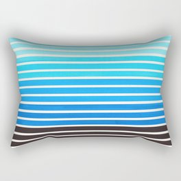 Watercolor Gouache Mid Century Modern Minimalist Colorful Cerulean Blue Stripes Rectangular Pillow