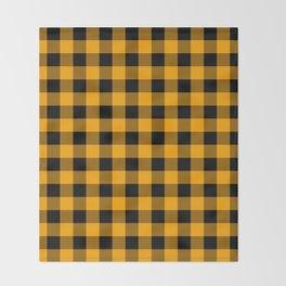 Crisp Orange and Black Lumberjack Buffalo Plaid Fabric Throw Blanket