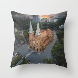 Notre-Dame Cathedral Basilica of Saigon Throw Pillow