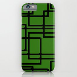 Retro Modern Black Rectangles On  Forest Green iPhone Case