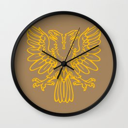 yellow double-headed eagle on brown background Wall Clock