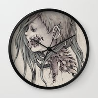gore Wall Clocks featuring Gore Girl by Savannah Horrocks
