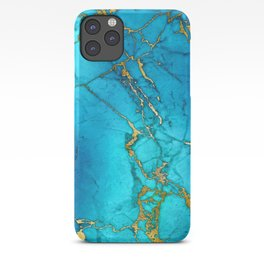 Gold And Teal Blue Indigo Malachite Marble iPhone Case