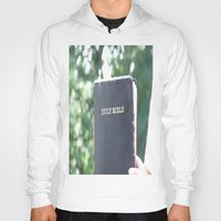 bible verses Hoodies featuring Holy Bible w/ bokeh by Hannah Chapman