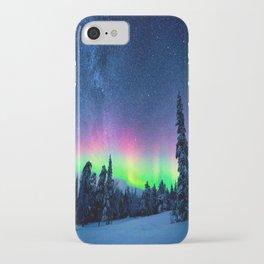 Aurora Borealis Over Wintry Mountains iPhone Case