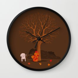 the fall and dog Wall Clock