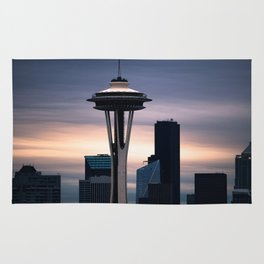 Space Needle Sunset   Seattle Nights Rug