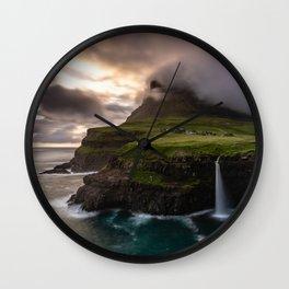 Gasadalur waterfall Wall Clock