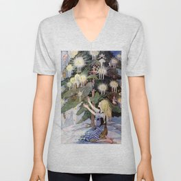 """""""The Little Match Girl"""" Vintage Art by Anne Anderson Unisex V-Neck"""