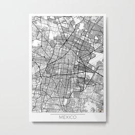 Mexico City Map White Metal Print