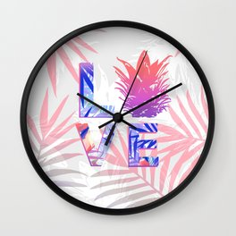 Love Pineapple Typography Tropical Boho Summer Vibes Wall Clock